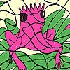 Sola rosa rana da colorare gioco