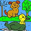 Solo cane e anatra colorazione gioco