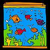 Grande acquario e pesci colorati da colorare gioco