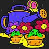 Grandi fiori nella colorazione giardino gioco