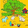 Albero grande fattoria e animali da colorare gioco