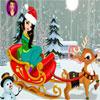 Ragazza di Natale con la renna vestire gioco