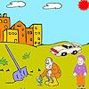 Agricoltore e bambino da colorare gioco