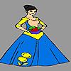 Signora timida fiorista da colorare gioco