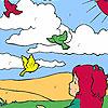 Ragazza e uccelli nella colorazione campo gioco