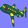 Colorazione di aeroplano volante verde gioco