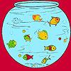 Piccoli pesci nella colorazione acquario gioco