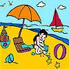 Bambina nella colorazione spiaggia gioco