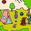 Piccola famiglia alla colorazione del camp gioco