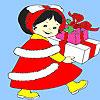 Piccola ragazza compleanno regalo da colorare gioco