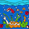 Ocean and colorful fishes coloring gioco