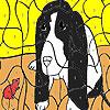 Vecchio cane e mouse colorazione gioco