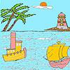 Mare e Faro da colorare gioco
