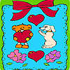 Giorno di San Valentino animali di colorazione telaio gioco